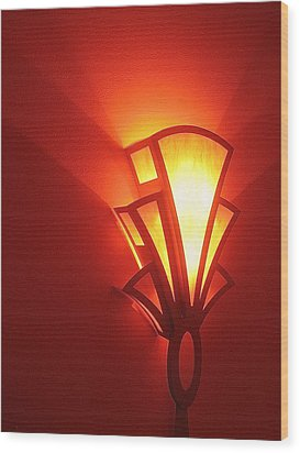 Wood Print featuring the photograph Art Deco Theater Light by David Lee Guss