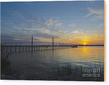 Wood Print featuring the photograph Sunset Over The Charleston Waters by Dale Powell