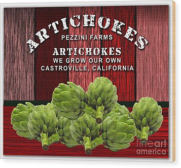 Artichokes Farm Wood Print