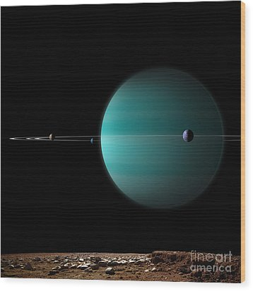 Artists Depiction Of A Ringed Gas Giant Wood Print by Marc Ward