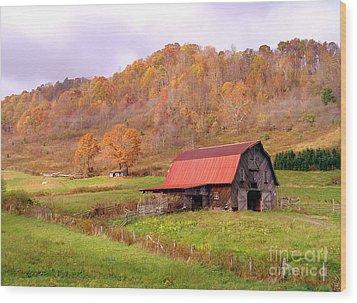 Ashe County Barn Wood Print by Annlynn Ward