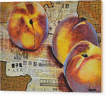 Asian Peaches Wood Print by JAXINE Cummins