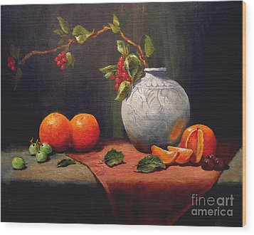 Wood Print featuring the painting Asian Vase by Carol Hart