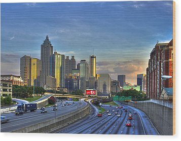 Atlanta Sunset Reflections Wood Print by Reid Callaway