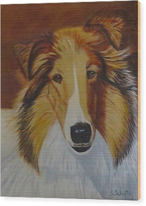 Wood Print featuring the painting Atticus by Sharon Schultz