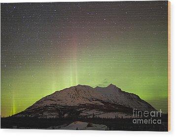 Aurora Borealis And Milky Way Wood Print by Joseph Bradley