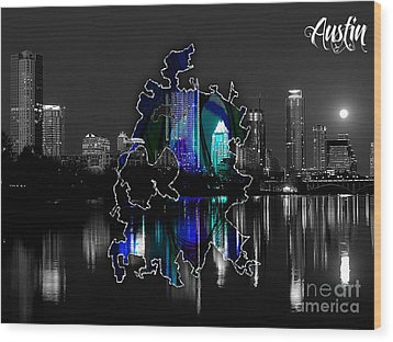 Austin Texas Map And Skyline Watercolor Wood Print