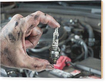 Auto Mechanic And Sparkplug Wood Print