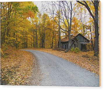 Autumn And The Old House Wood Print