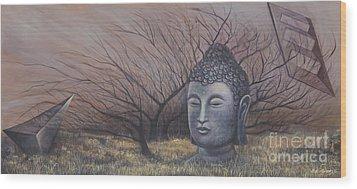 Autumn Buddha Wood Print