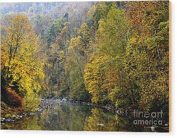 Autumn Elk River Wood Print by Thomas R Fletcher