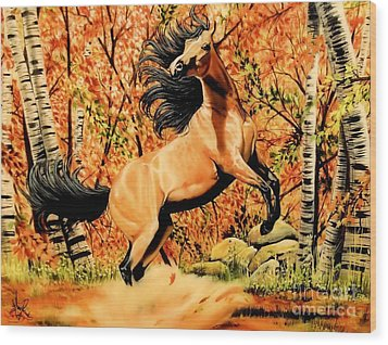 Autumn Frolick Wood Print