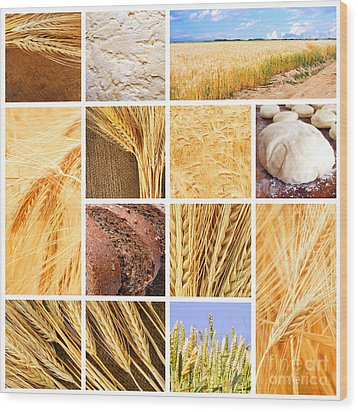 Autumn Harvest Collage Wood Print by Boon Mee