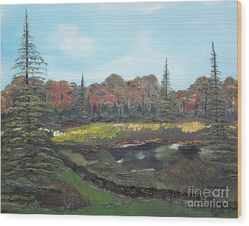 Wood Print featuring the painting Autumn Landscape by Jan Dappen