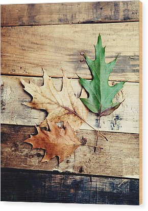 Autumn Leaves Ablaze With Color Wood Print by Kim Fearheiley