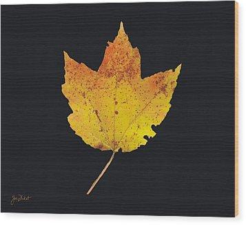 Autumn Mountain Maple Leaf Wood Print