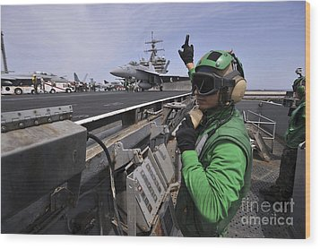 Aviation Boatswain's Mate Signals Wood Print by Stocktrek Images