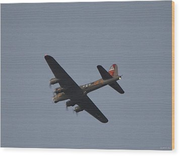 Wood Print featuring the photograph B-17 Flying Fortress Wwii Bomber Over Santa Rosa Sound At Twilight by Jeff at JSJ Photography