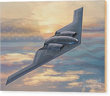 B-2 Spirit Wood Print by Stu Shepherd