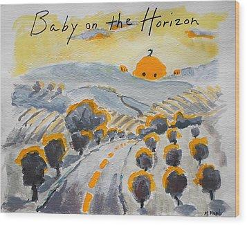 Baby On The Horizon Wood Print by Margaret  Plumb