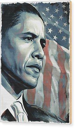 Barack Obama Artwork 2 Wood Print by Sheraz A