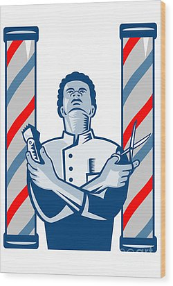 Barber With Pole Hair Clipper And Scissors Retro Wood Print by Aloysius Patrimonio