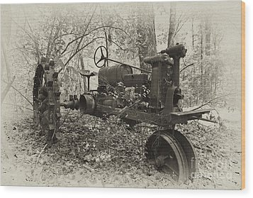 Barksdale Tractor Wood Print by Russell Christie