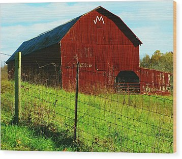 Barn With An M Wood Print