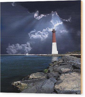 Barnegat Inlet Lighthouse Nj Wood Print by Skip Willits