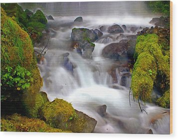 Base Of The Falls Wood Print by Marty Koch