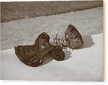 Baseball Glove And Chest Protector Wood Print by Frank Romeo