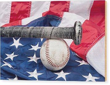 Baseball On American Flag Wood Print by Joe Belanger