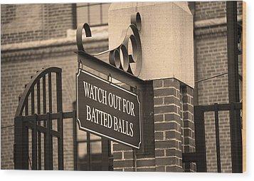Baseball Warning Wood Print by Frank Romeo