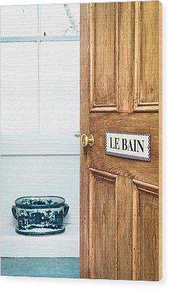 Bathroom Door Wood Print by Tom Gowanlock