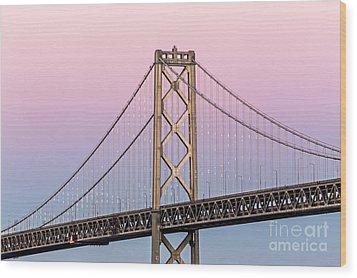 Bay Bridge Lights At Sunset Wood Print