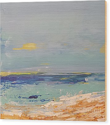 Wood Print featuring the painting Beach by Diana Bursztein