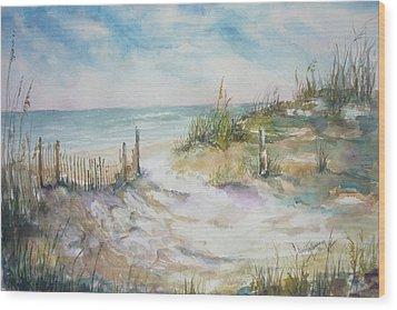 Beach Fence Wood Print by Dorothy Herron