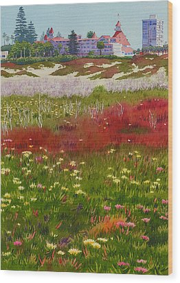 Beach Flowers At The Del Wood Print by Mary Helmreich