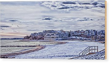 Wood Print featuring the photograph Beach In Winter Photo Art by Constantine Gregory