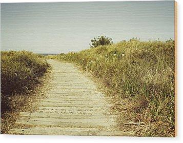 Beach Trail Wood Print by Les Cunliffe
