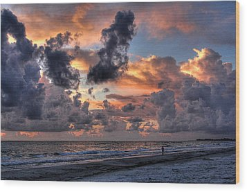 Beach Walk - Florida Seascape Wood Print by HH Photography of Florida