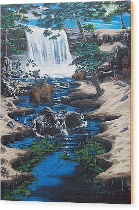 Wood Print featuring the painting Bearing The Fall by Susan Roberts