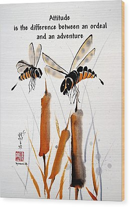 Wood Print featuring the painting Beeing Present by Bill Searle