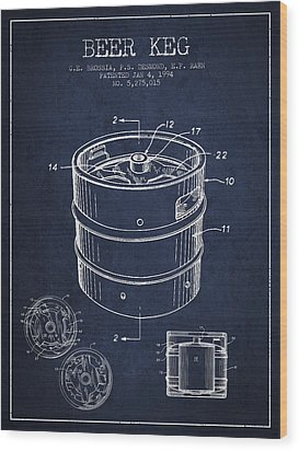 Beer Keg Patent Drawing - Green Wood Print by Aged Pixel