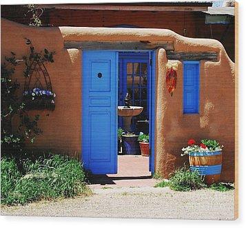 Behind A Blue Door 1 Wood Print