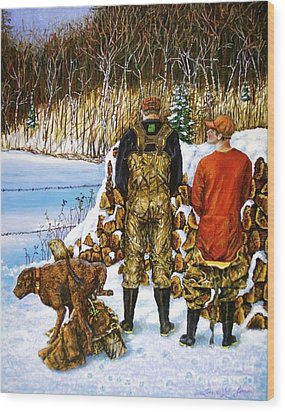 Behind The Wood Pile    Wood Print by Linda Simon