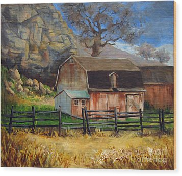 Wood Print featuring the painting Bellvue Barn by Carol Hart