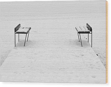 Benches On A Dock Wood Print