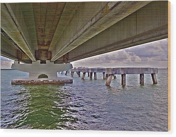 Wood Print featuring the photograph Beneath Sanibel Bridge by Timothy Lowry