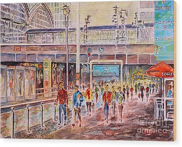 Wood Print featuring the painting Berlin Frederic Street Station by Alfred Motzer